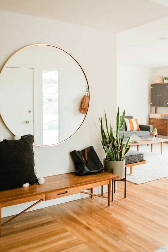 living room mirror on wall