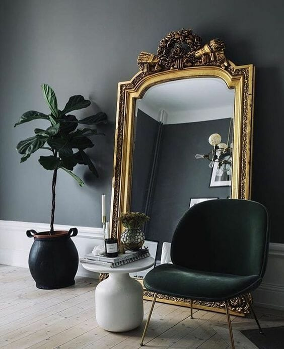 living room mirror against wall