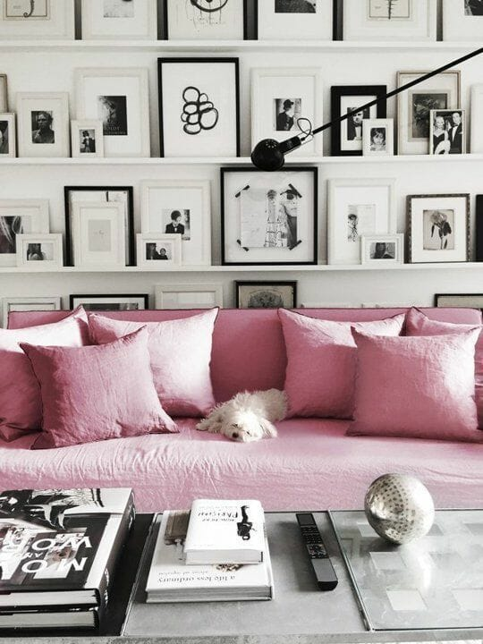 living room shelves living room pink couch living room frames on shelf living room decor