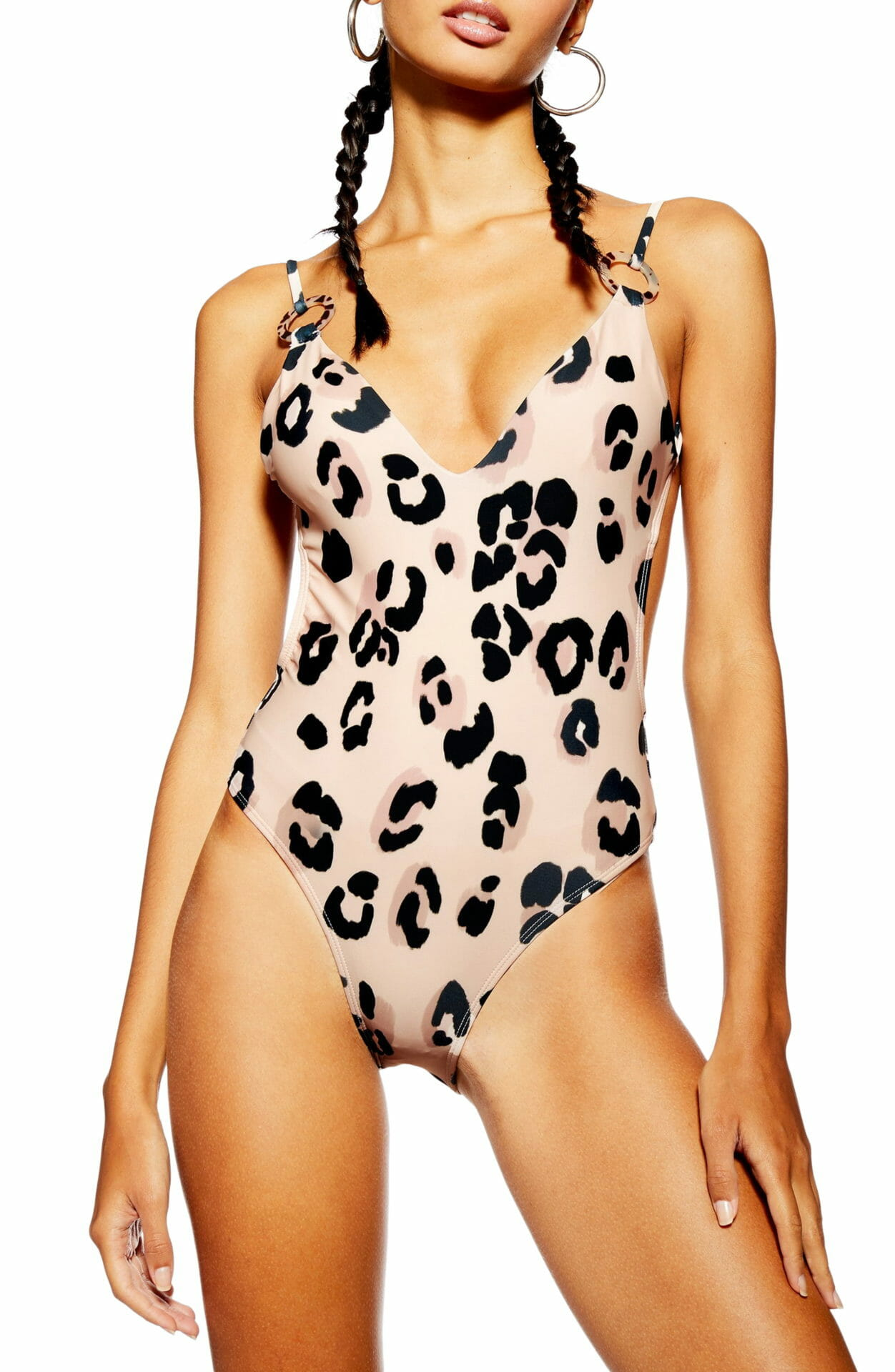 TOPSHOP Animal Print One-Piece Swimsuit, Main, color, PINK MULTI