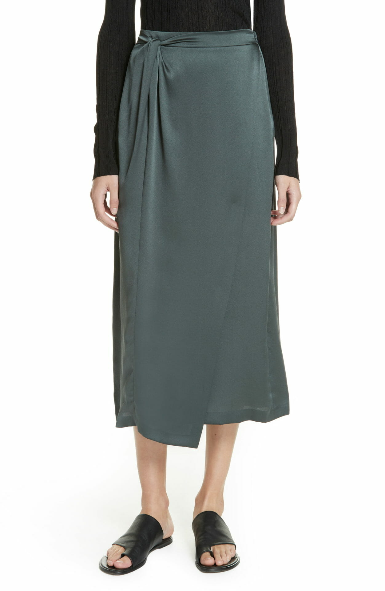 VINCE Knot Silk Midi Skirt, Main, color, MINERAL STONE