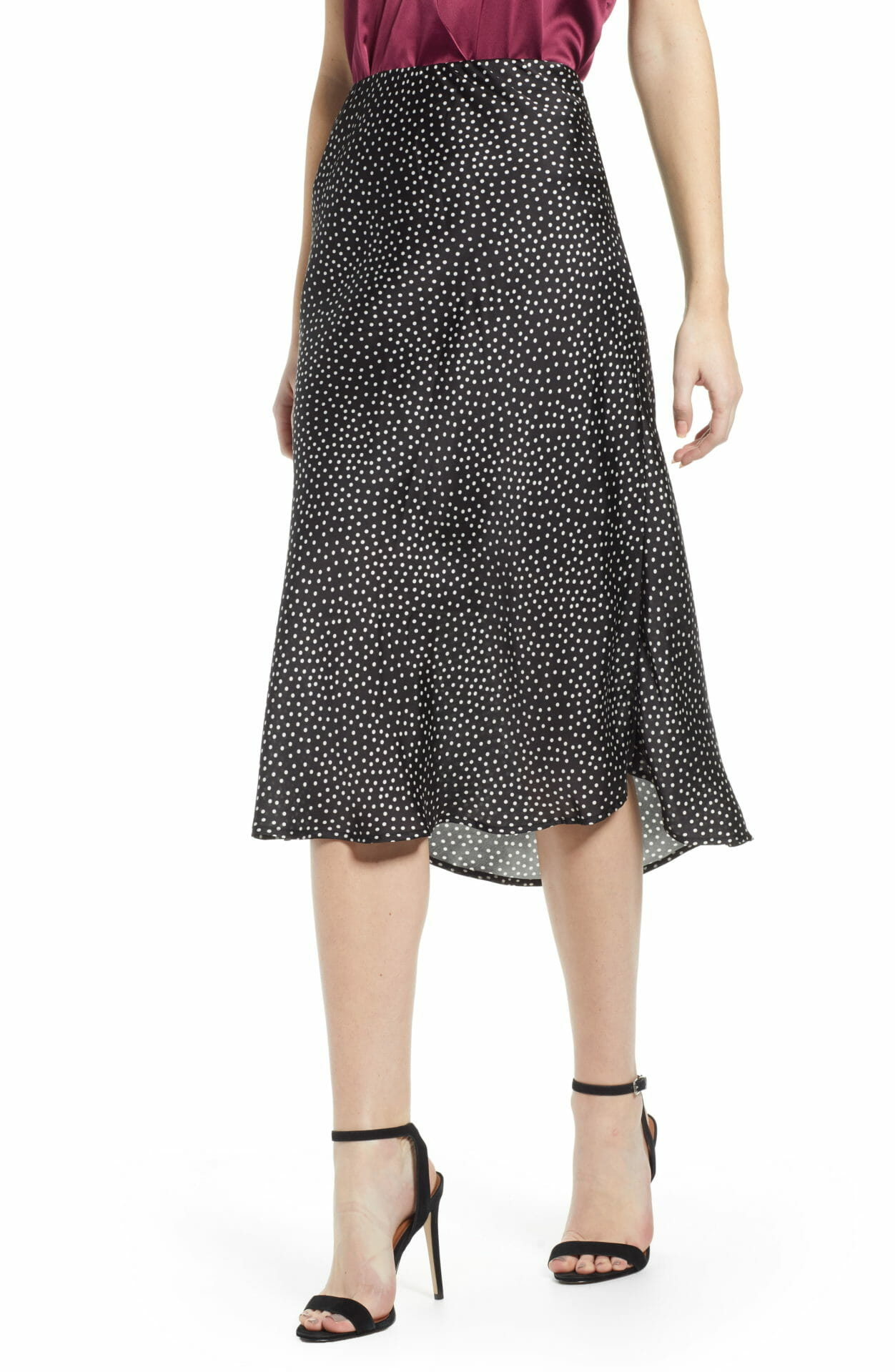 LEITH Satin Midi Skirt, Main, color, BLACK DOT