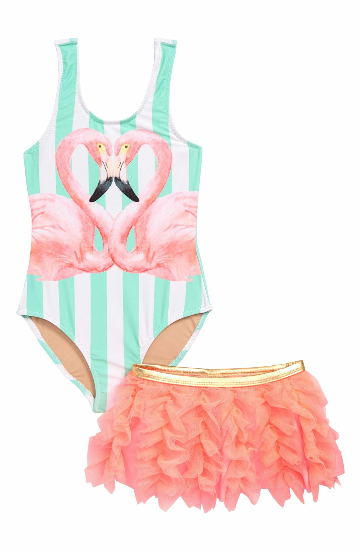 SHADE CRITTERS Flamingo One-Piece Swimsuit & Swim Skirt Set, Main, color, STRIPE