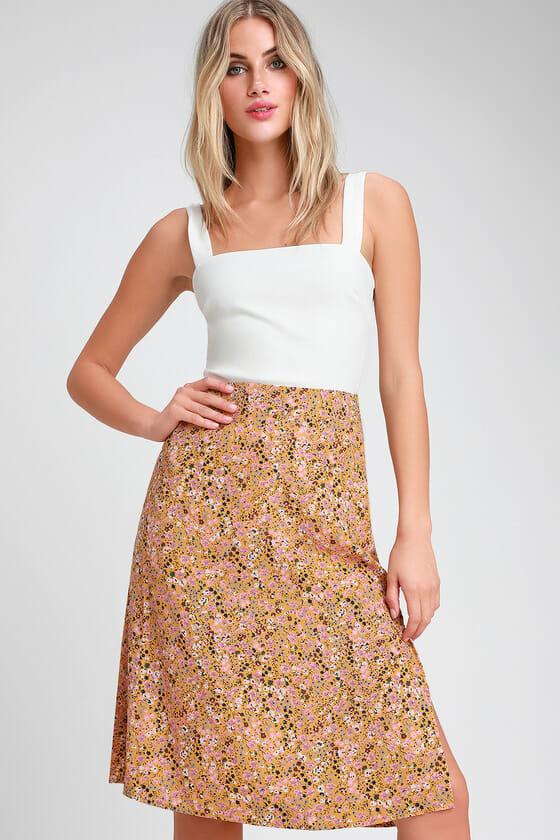 Fresh Fleur Mustard Yellow Floral Print A-Line Midi Skirt - Lulus
