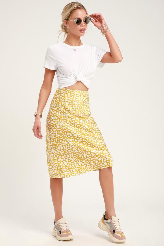 Elisa Mustard Yellow Print Satin Midi Skirt - Lulus