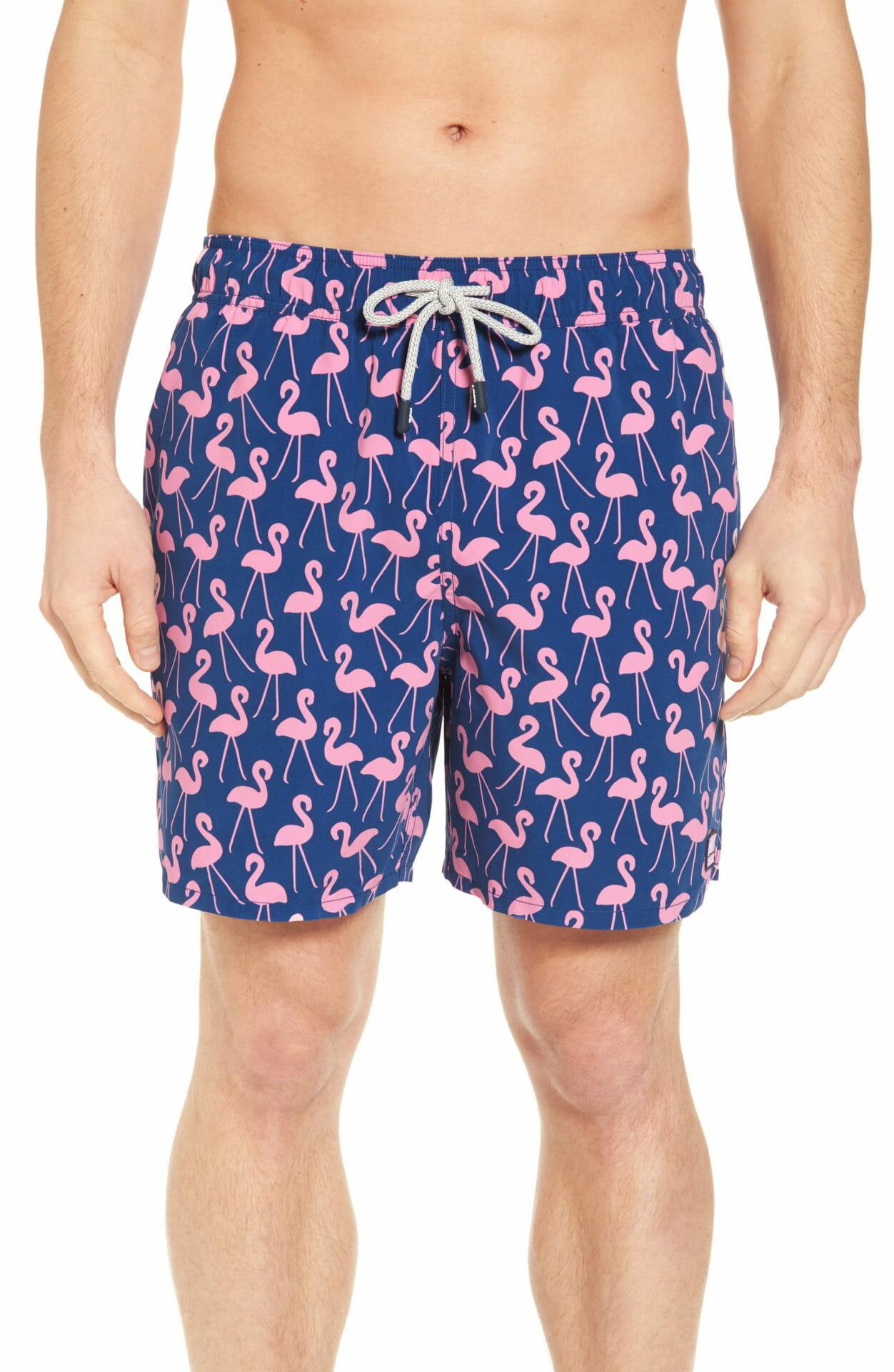 TOM & TEDDY Flamingo Print Swim Trunks, Main, color, ROSE / BLUE