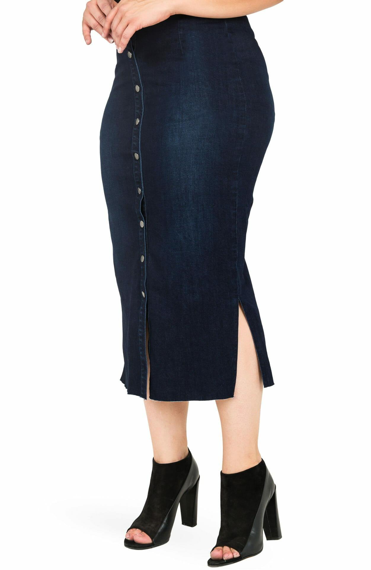 STANDARDS & PRACTICES Elain Denim Pencil Skirt, Alternate, color, BLUE