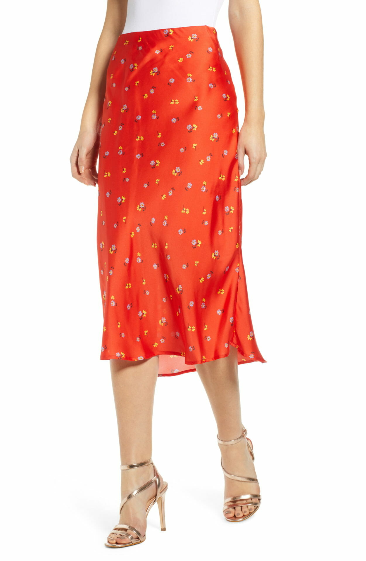 LEITH Satin Midi Skirt, Main, color, RED DITSY PRINT
