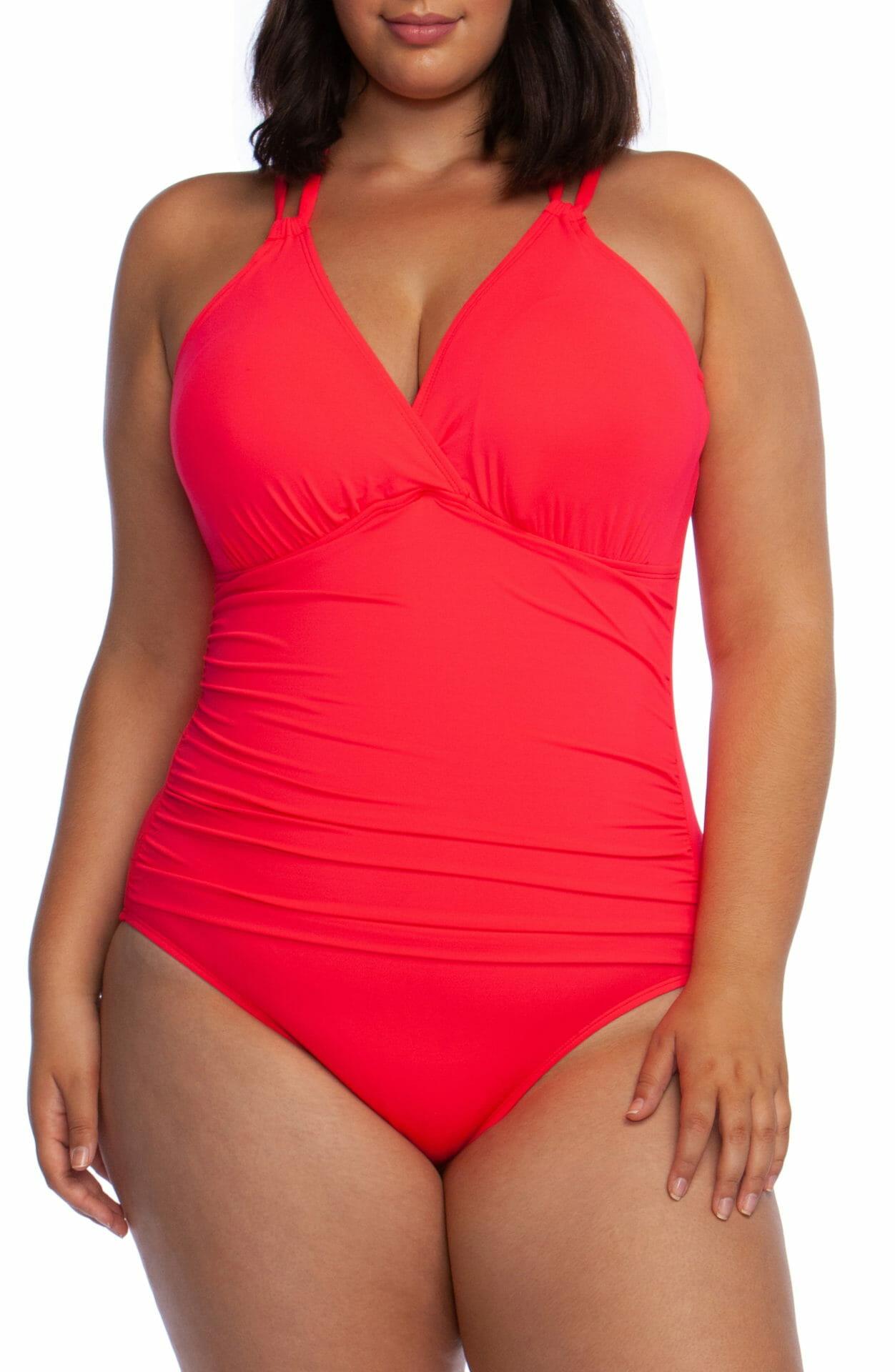 LA BLANCA One-Piece Underwire Swimsuit, Main, color, WATERMELON