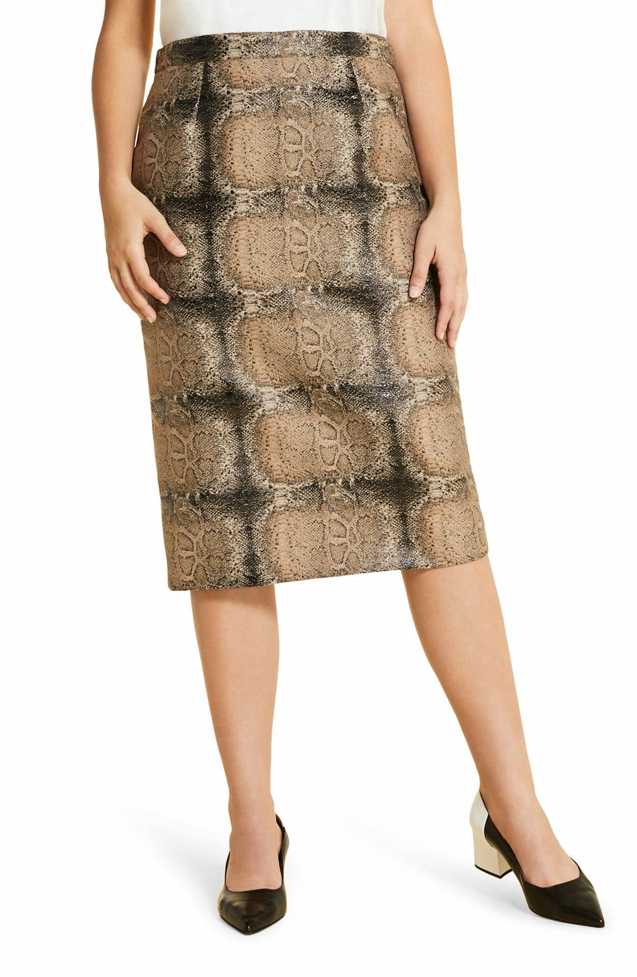 MARINA RINALDI Casanova Pencil Skirt, Main, color, HAZELNUT