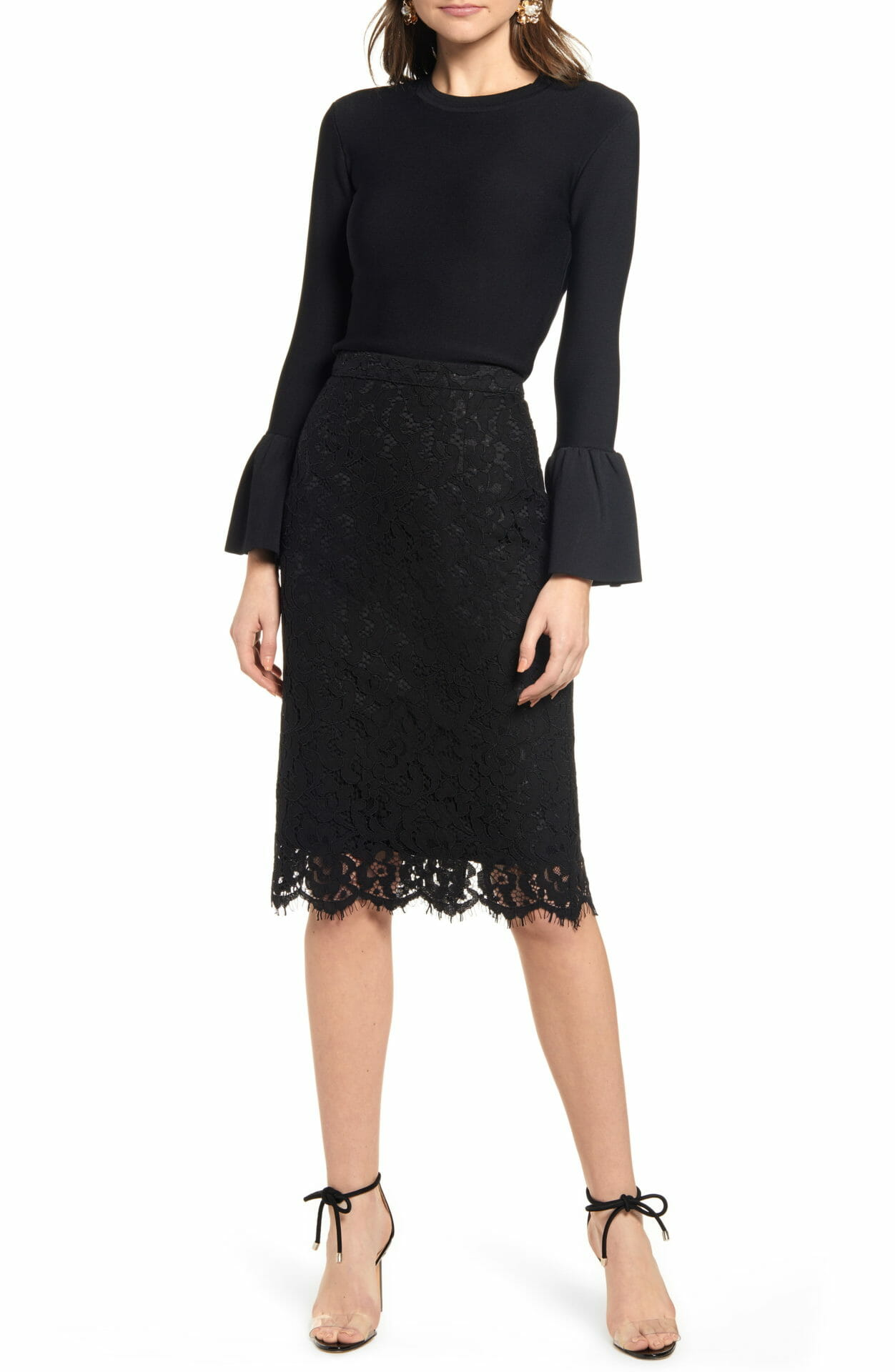 RACHEL PARCELL Lace Pencil Skirt, Main, color, BLACK