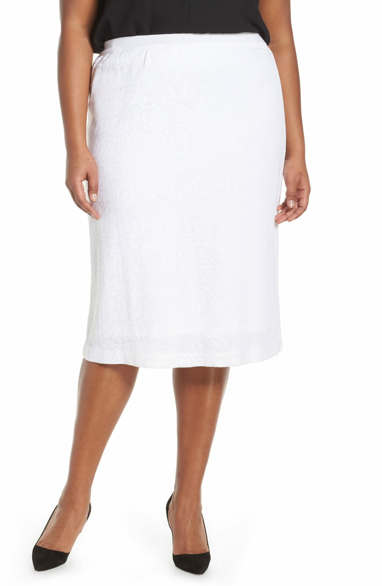 MING WANG Paisley Knit Skirt, Main, color, WHITE