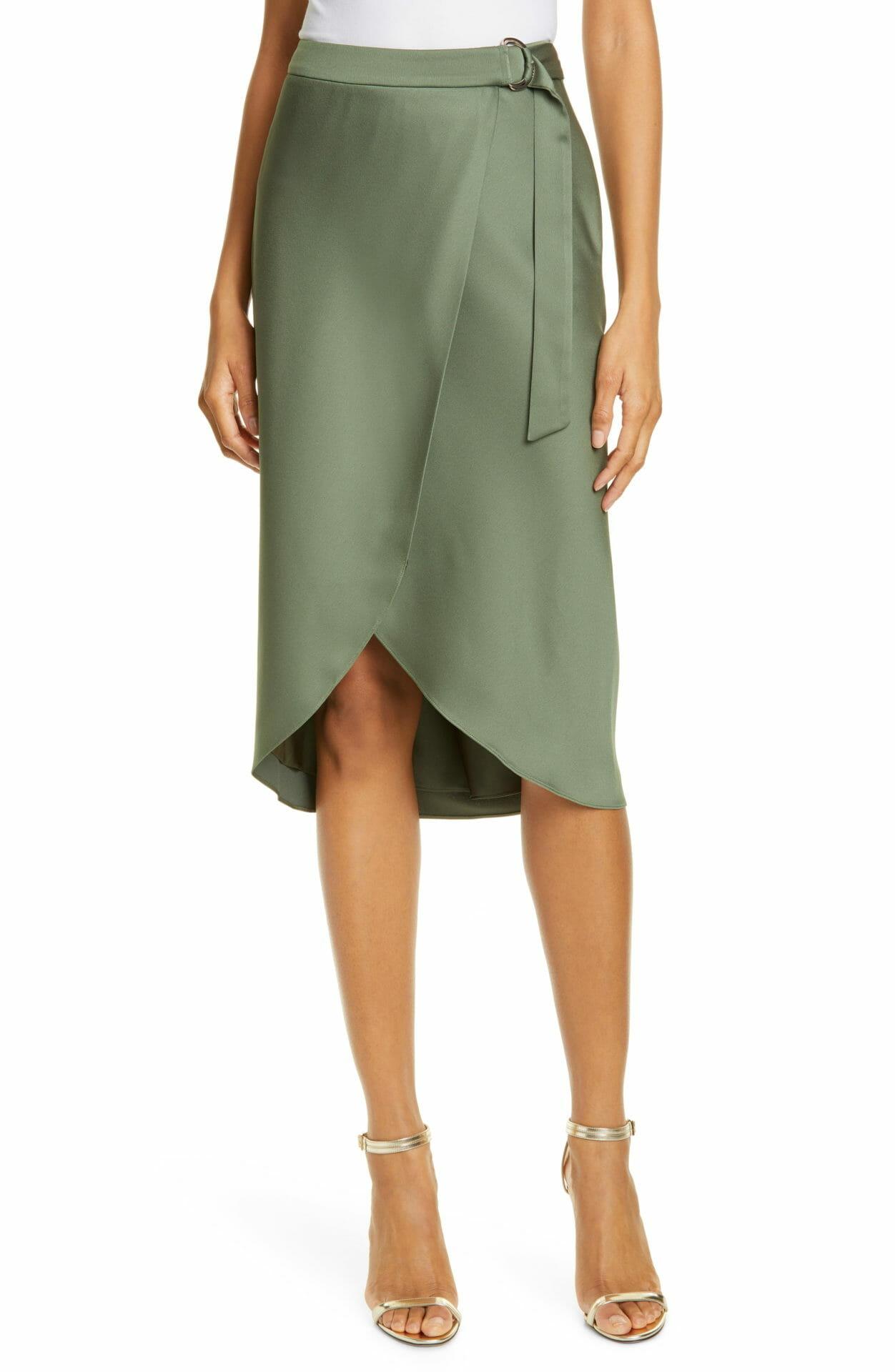 TED BAKER LONDON Aleyxa Belted Wrap Skirt, Main, color, KHAKI