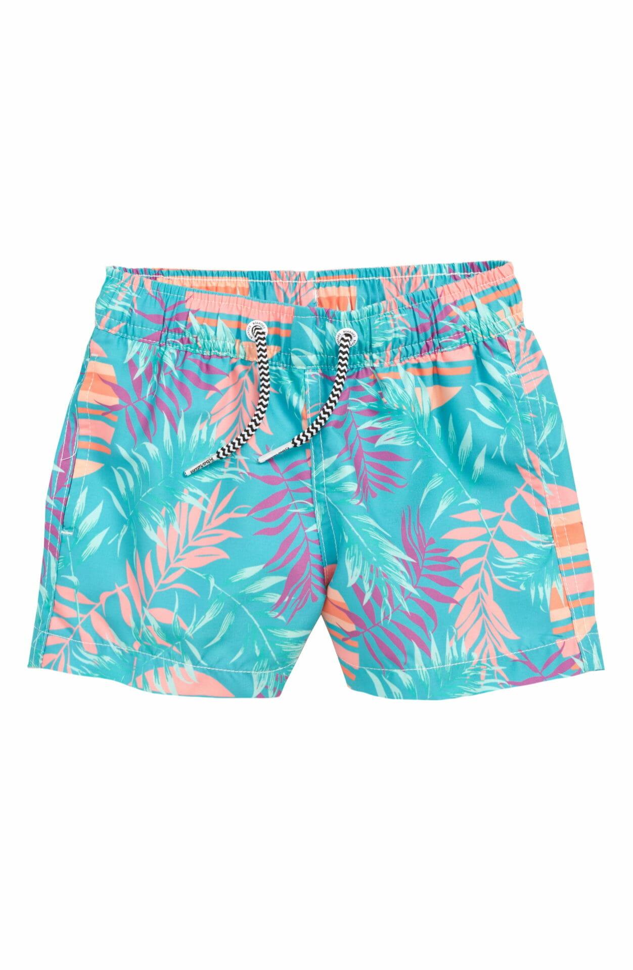 BOARDIES Rising Palm Swim Trunks, Main, color, GREEN