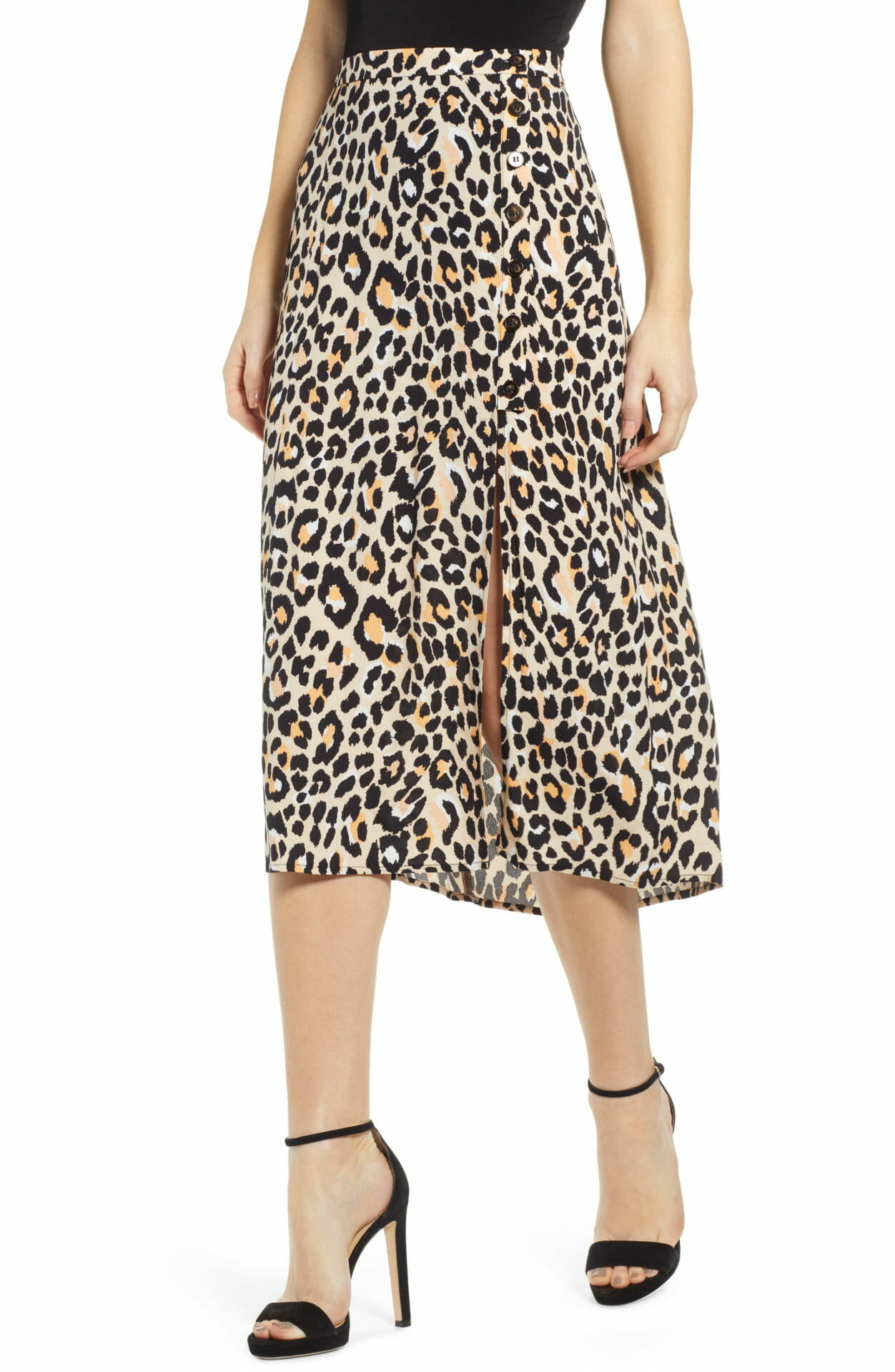 ASTR THE LABEL Leopard Print Button Front Midi Cotton Blend Skirt, Main, color, LEOPARD PRINT