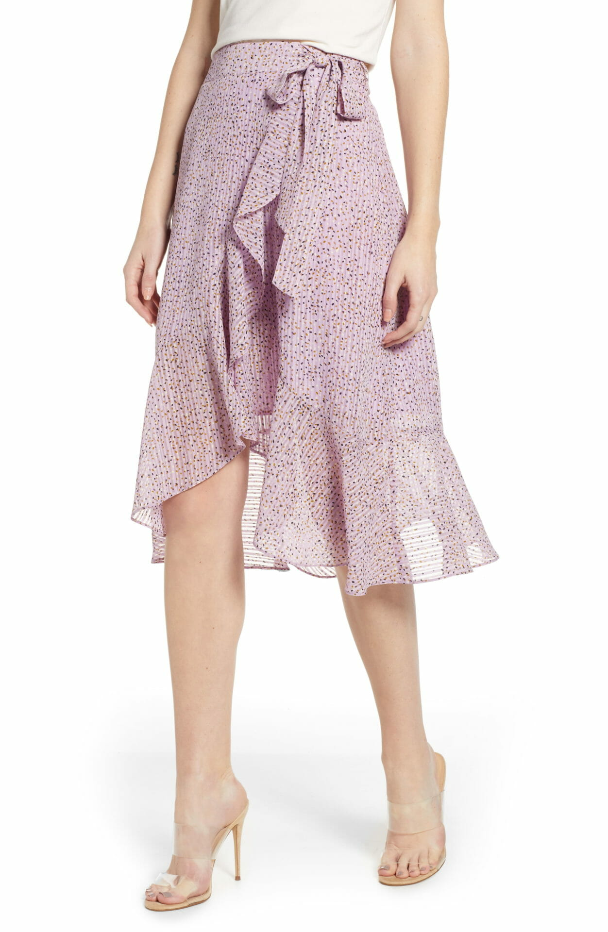 J.O.A. Flounced Wrap Skirt, Main, color, LAVENDER DOT