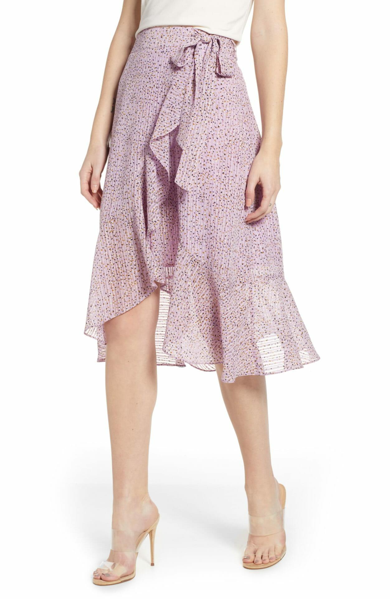 J.O.A. Flounced Wrap Skirt, Main, color, LAVENDER DOT