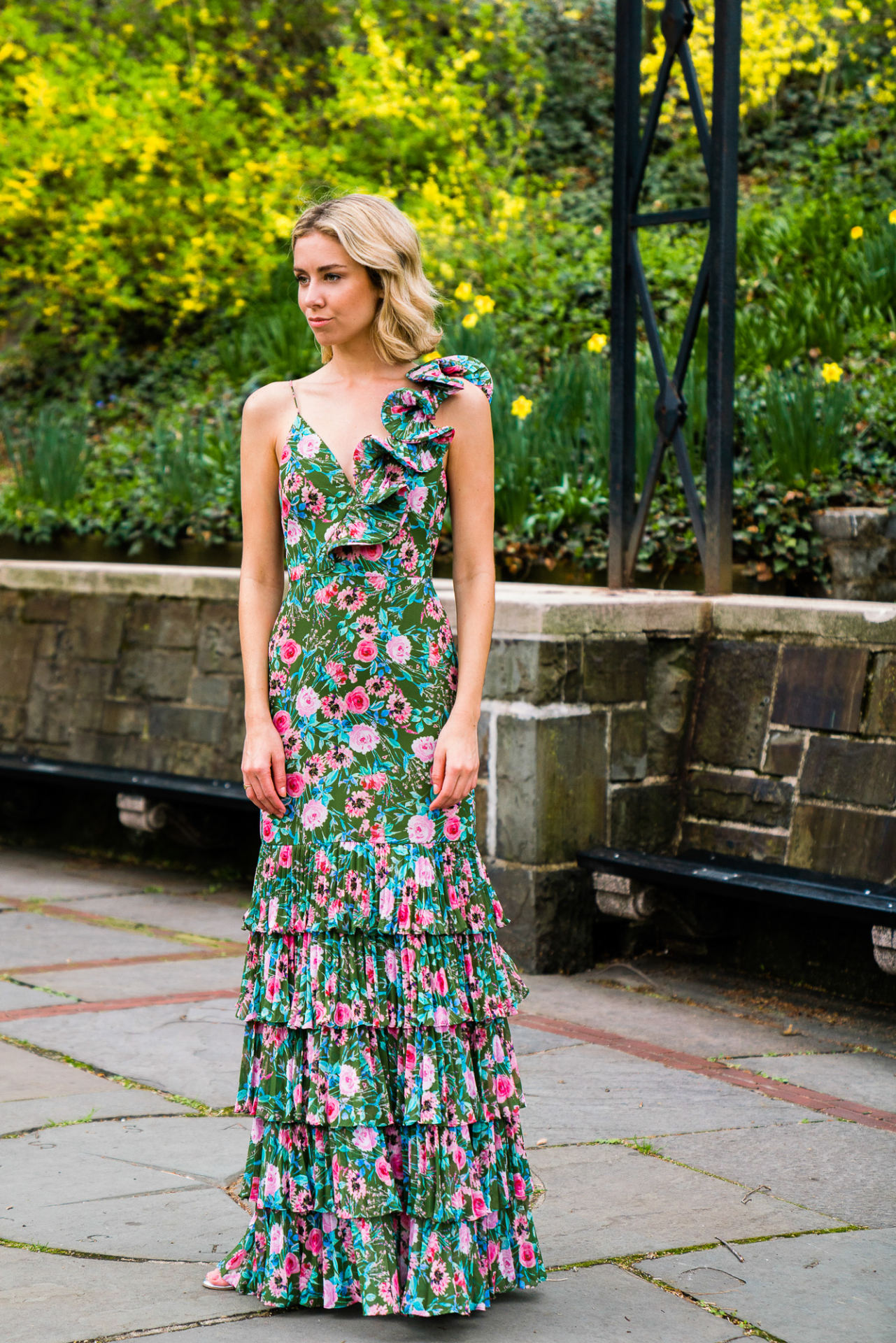 Floral is a bright spring option for a wedding guest.
