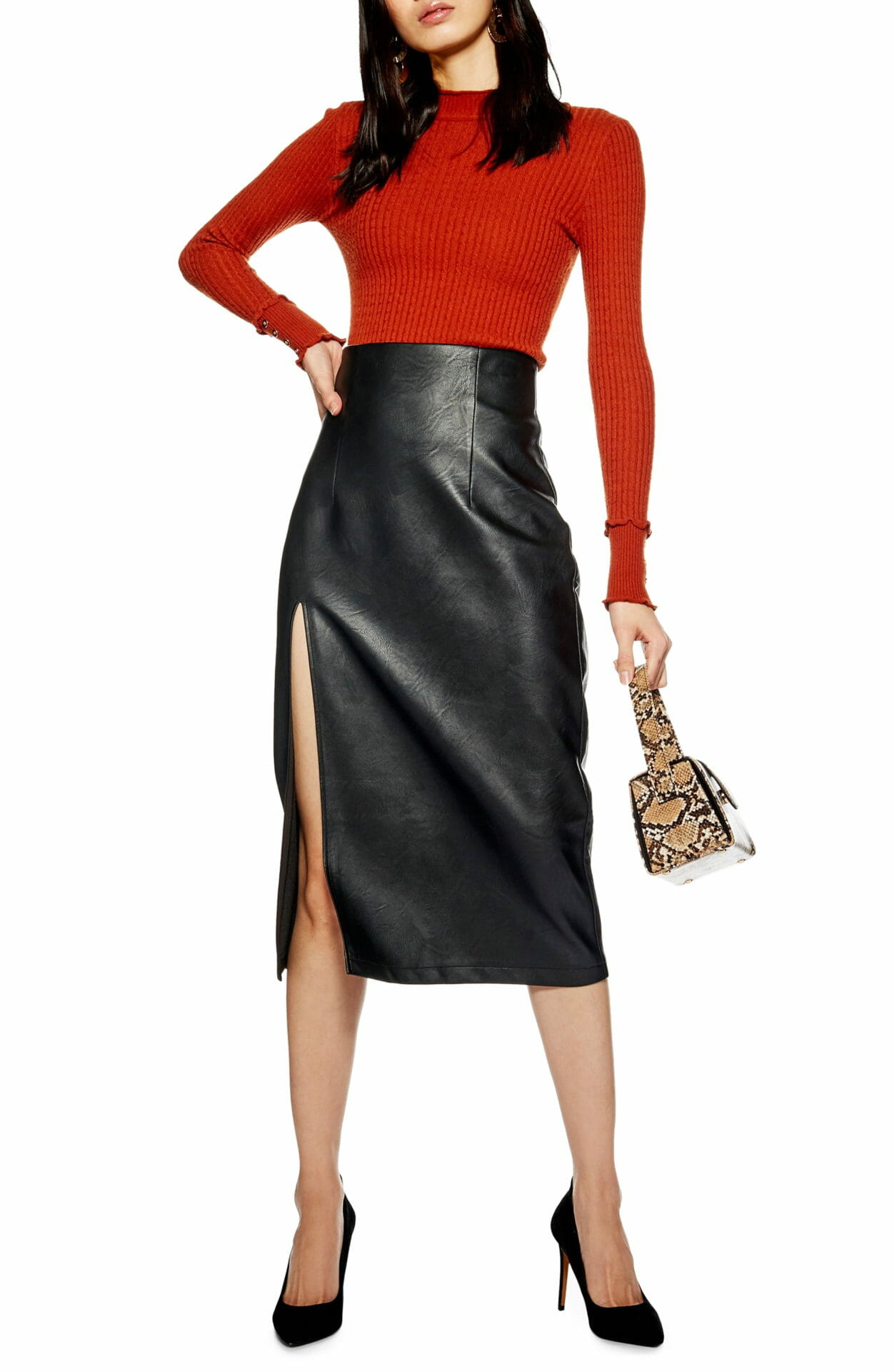 TOPSHOP Faux Leather Pencil Skirt, Main, color, BLACK