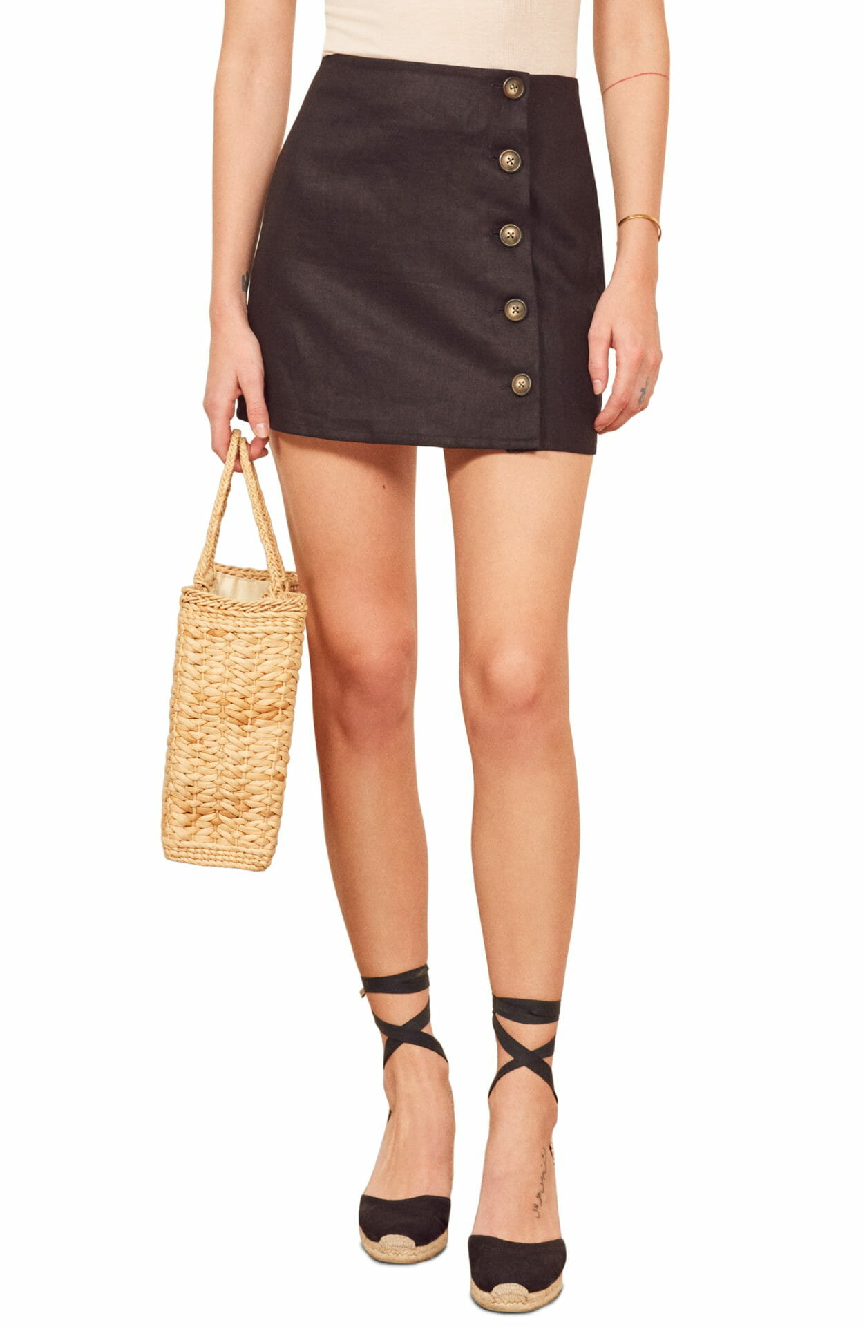 REFORMATION Candella Button Detail Linen Miniskirt, Main, color, BLACK