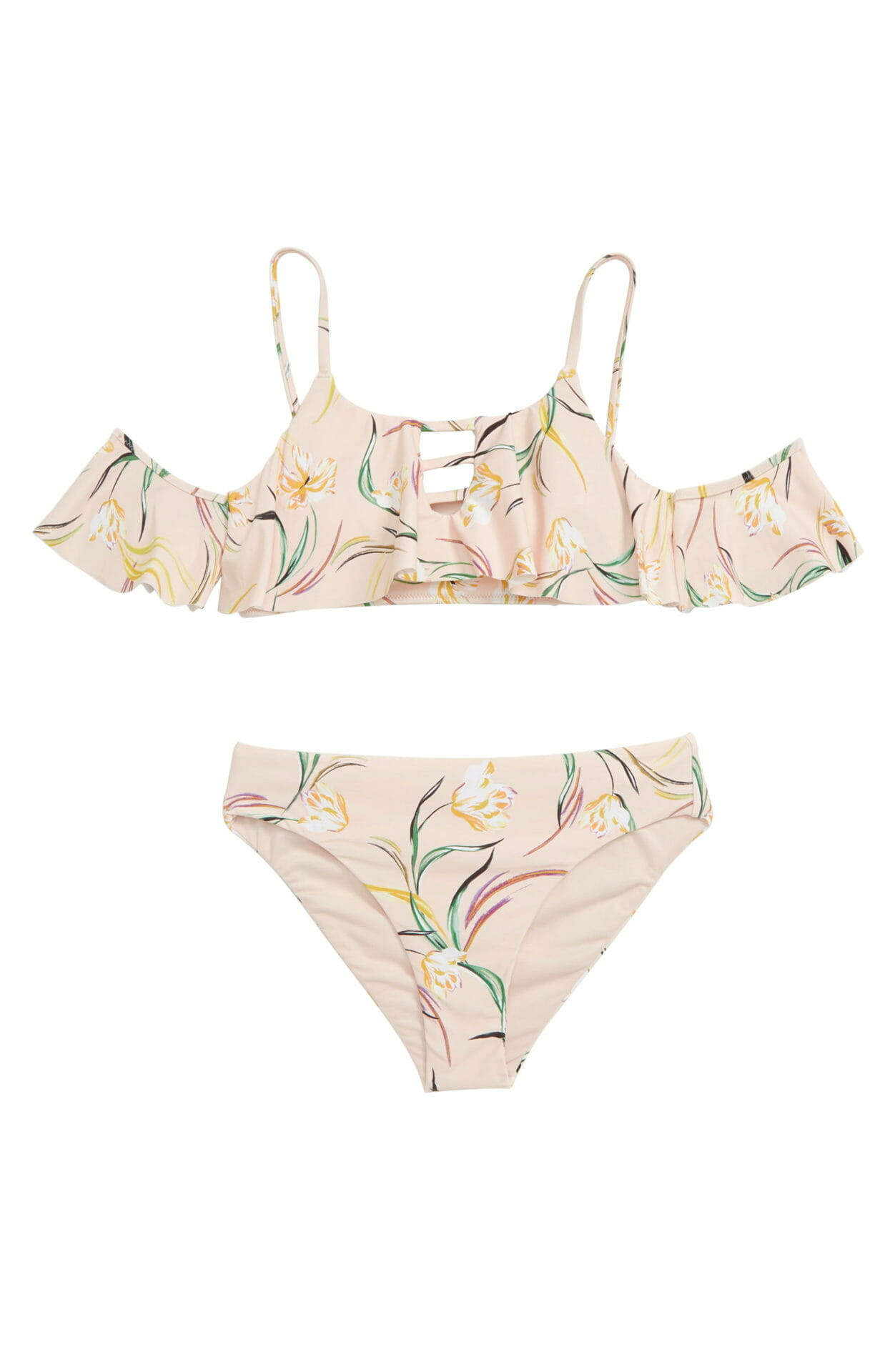 O'NEILL Claris Off the Shoulder Two-Piece Swimsuit, Main, color, ICED PEACH