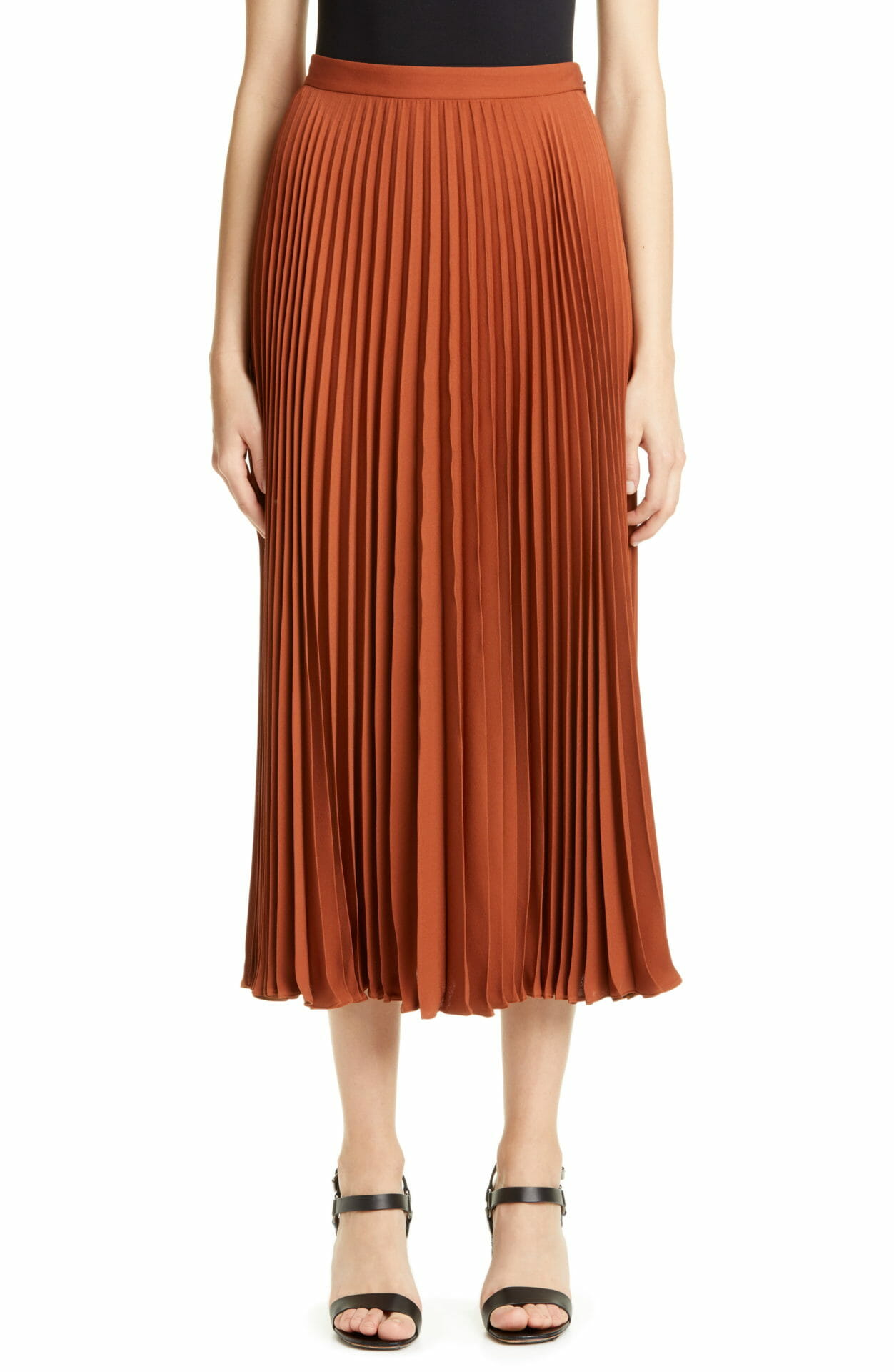 VALENTINO Plissé Silk Midi Skirt, Main, color, LAN-LAND