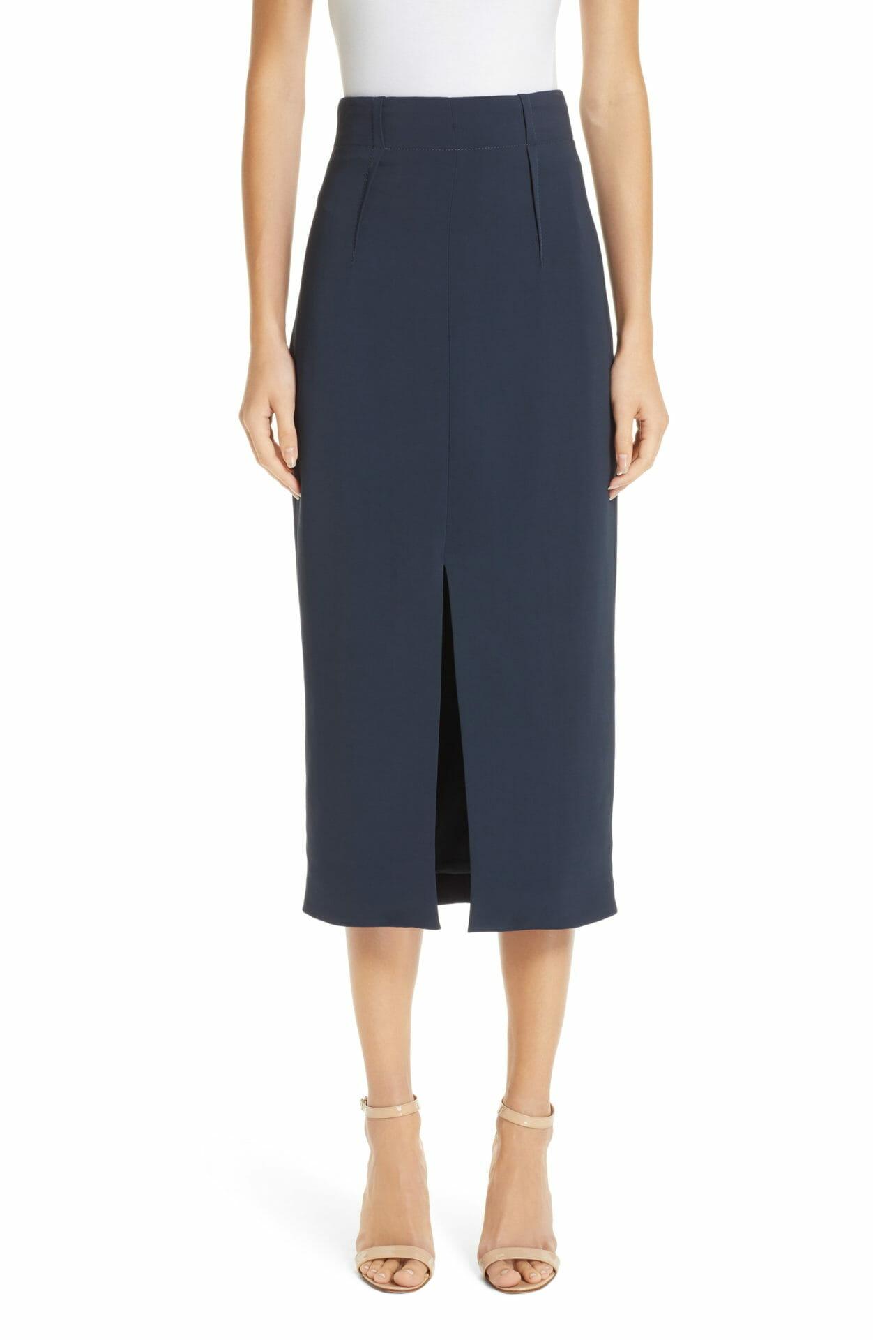 CUSHNIE Slit Pencil Skirt, Main, color, STORM