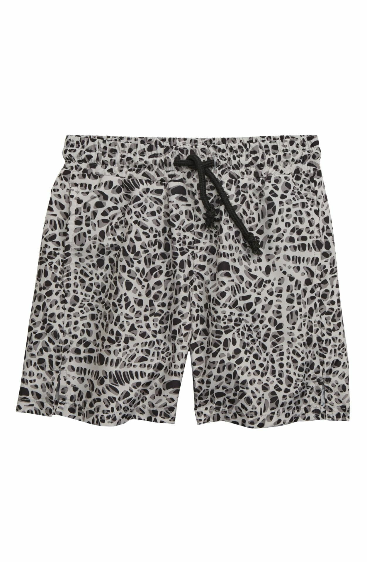 SOMETIME SOON Splash Swim Trunks, Main, color, WHITE/ BLACK