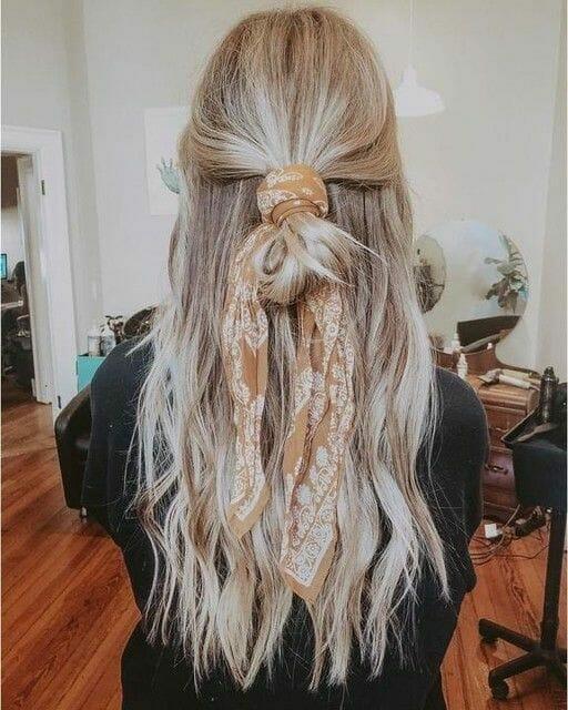 Bohemian Silk Scarf in Hair