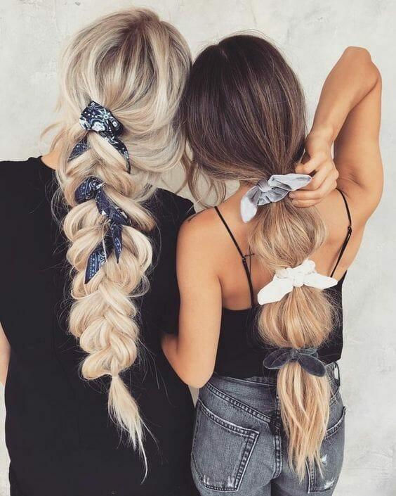 Silk scarves bandanas and braids hairstyle