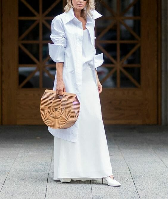 Upscale looking all white outfit for a woman.