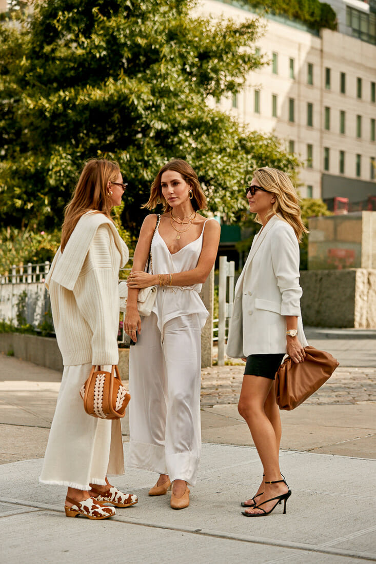 Women dressed in white casual clothes.