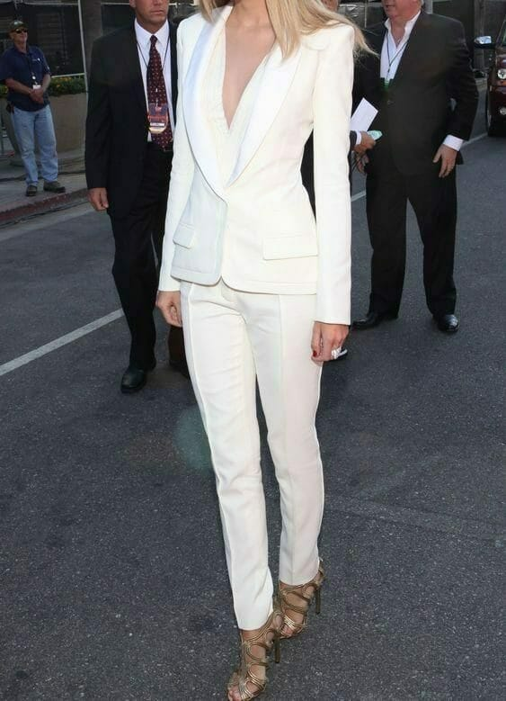 All white outfit worn on a woman.