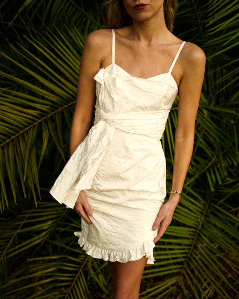 short white dress minimalist fashion