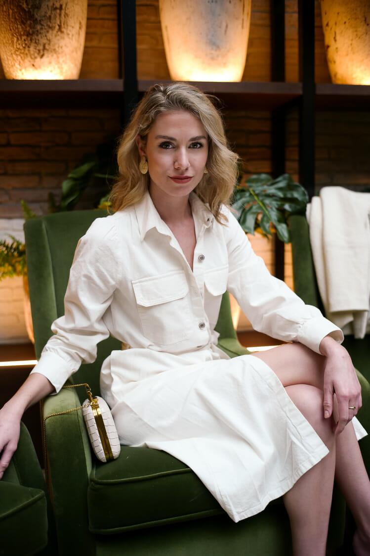 Vera Casagrande sits in the lobby of the H10 Marina Barcelona in Barcelona, Spain.