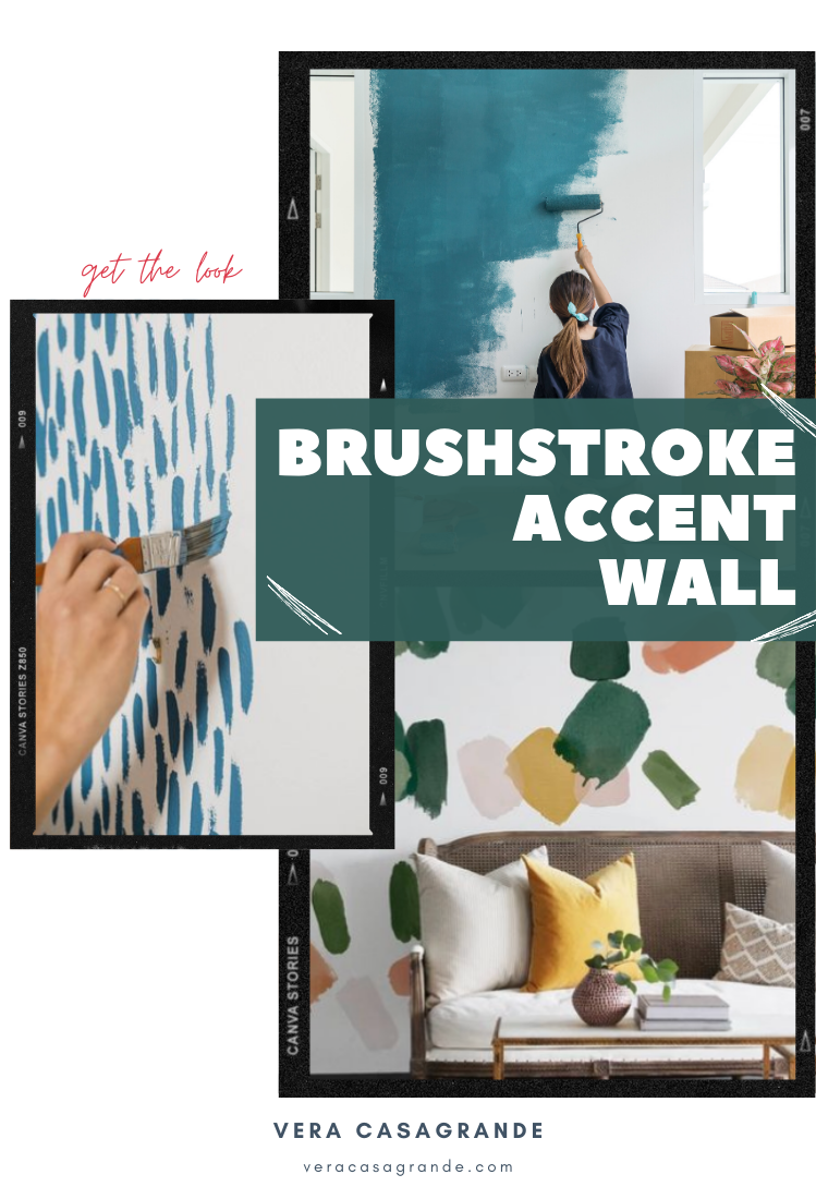 Brush stroke accent wall painted by hand.