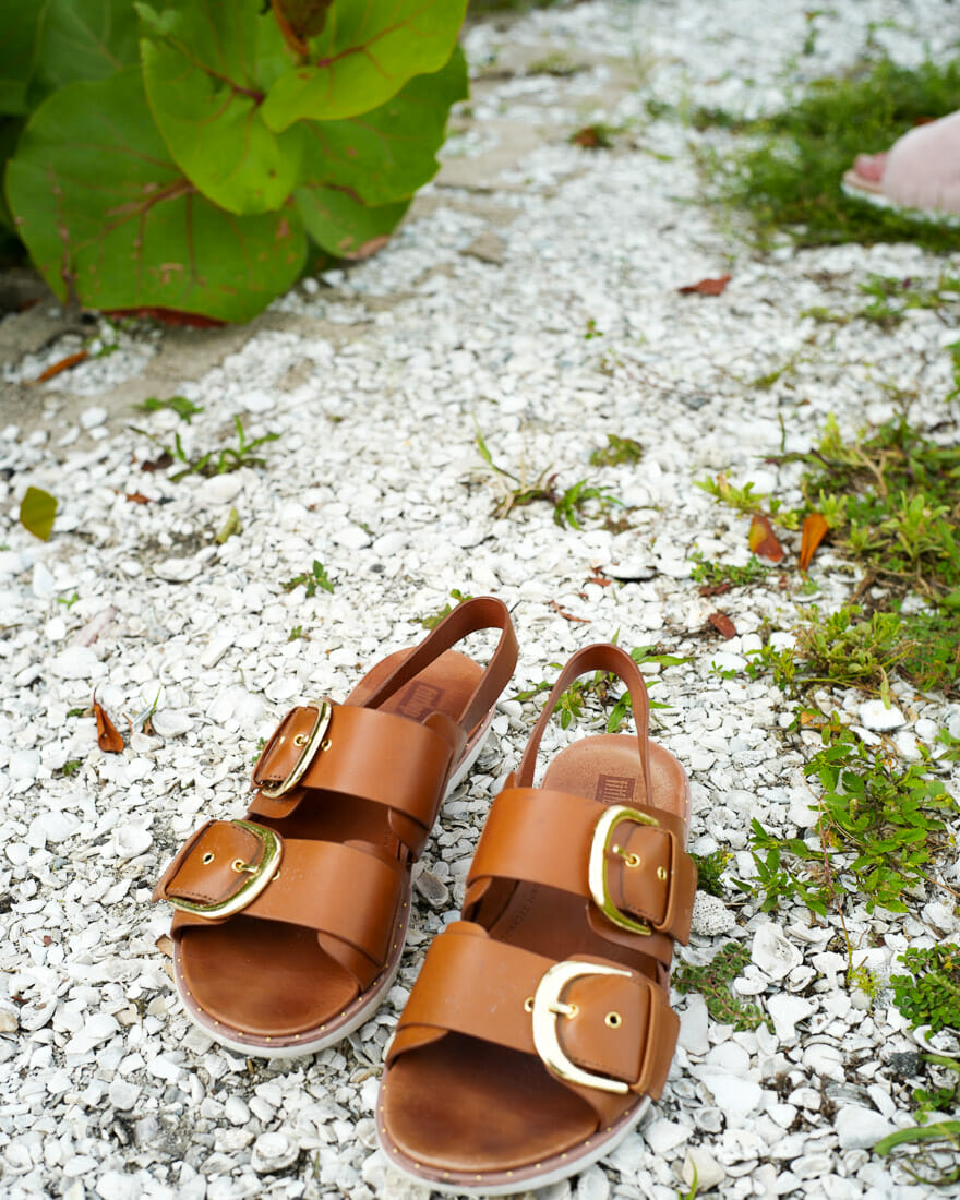 Comfortable sandals for the beach.