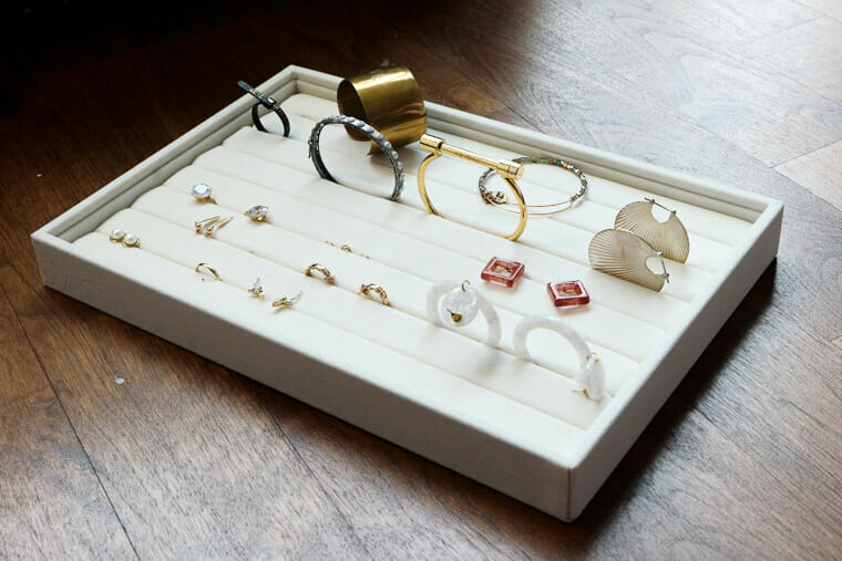 Organizing earrings can be easy using trays.