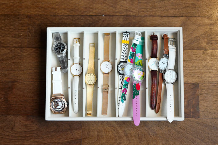 How I organize my watches in drawers using trays.