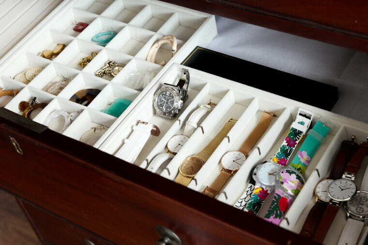 How to organize your watches in drawers using trays.