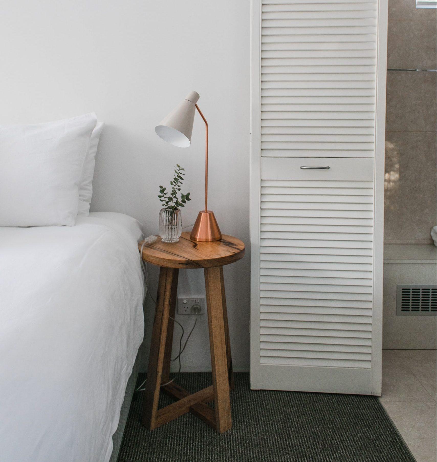 bedside lamp, bedroom, lamp